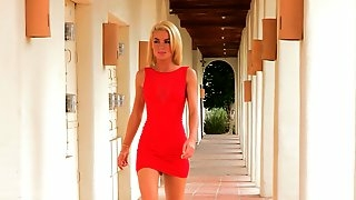 Blonde Babe Heather is Super Sexy! Strip that Red Dress and Masturbate!