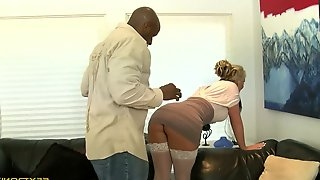 Blonder vixen is eager to ride a big black cock hardcore