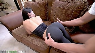 Big bottomed seductress Canela Skin rides a dick and gets doggy fucked