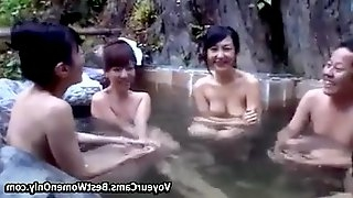 Asian Cute Girls Seduced In Mixed Bath Compilation