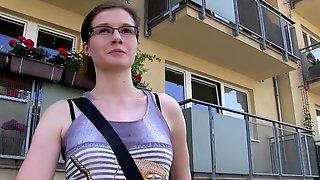 Random girl Julie Paradise with glasses gets fucked for money