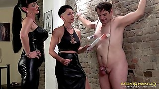 Carmen Rivera and one more girl decide to punish a dude with BDSM
