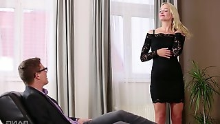 Victoria Pure gets fingered by her man and then jerks him off