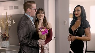 Skinny chick and a busty MILF share one dick - Rita and Alison