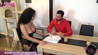 Curly hair german brunette fuck on table