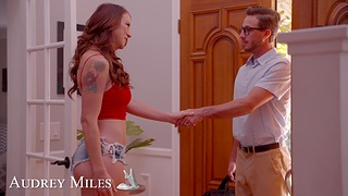 Tattooed redhead Audrey Miles drops on say no to knees to beg him hard