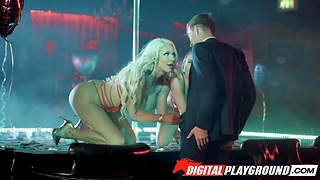 Two strippers Maidservant Mac and Nicolette Shea serve one client in the V.I.P room