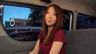 Asian stranger gets her pussy licked in back of the car. HD