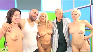 Naked women in serious cock sharing group play