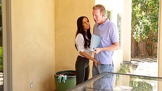 Fit housewife Brandy Aniston gives a blowjob and rides in cowgirl